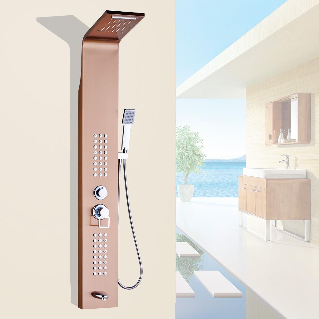 colonne douche de pluie cascade jets de massage acier inoxydable or rose ebay. Black Bedroom Furniture Sets. Home Design Ideas