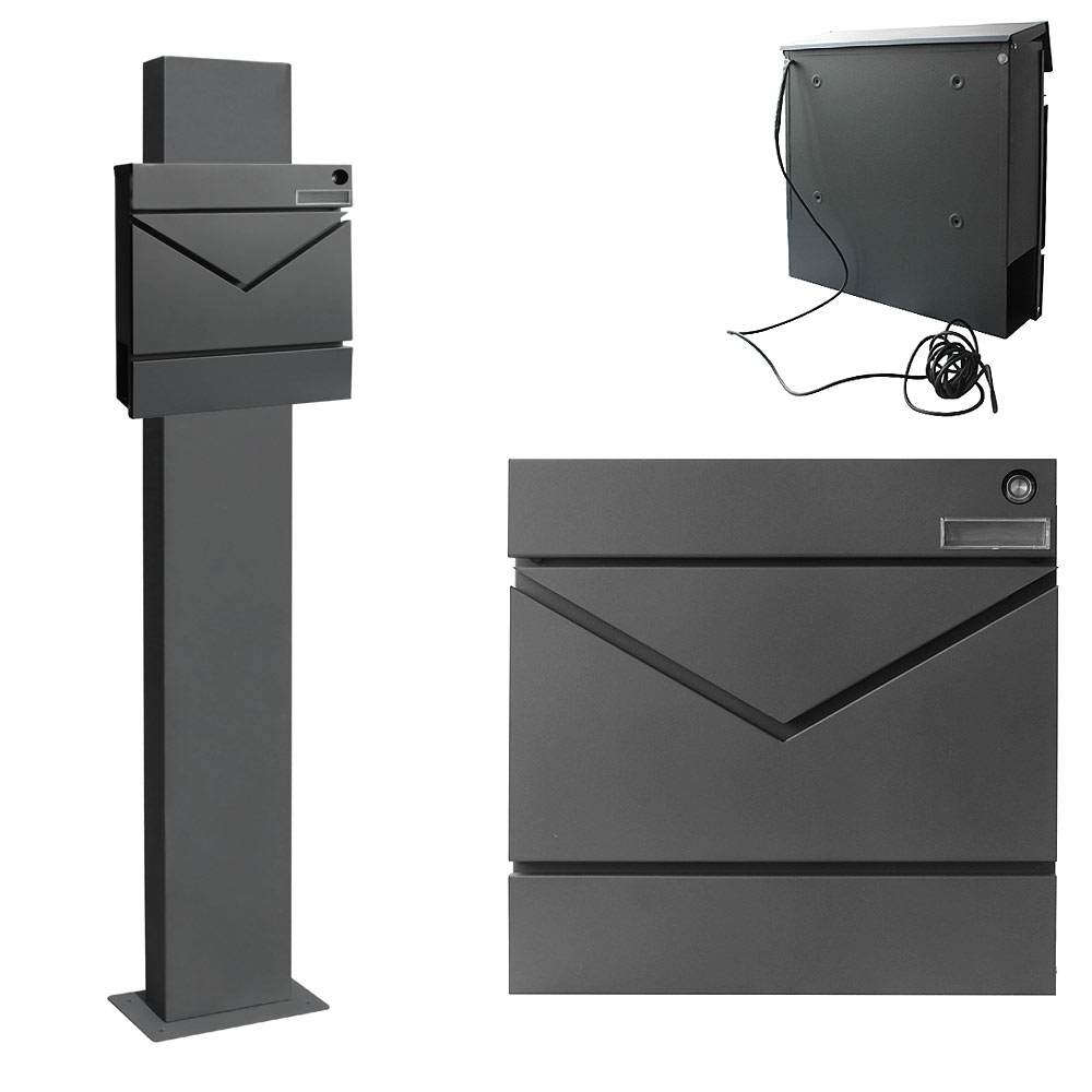 edelstahl briefkasten standbriefkasten anthrazit zeitungsrolle v2aox auswahl ebay. Black Bedroom Furniture Sets. Home Design Ideas