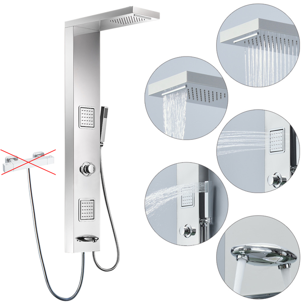 Stainless Steel Shower Column Panel Rain Shower Massage Waterfall Bath Filler 4 Colours Sanlingo – Bild 4