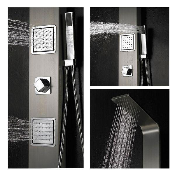 Duschpaneel Duschsäule Edelstahl gebürstet Regendusche Massagedüsen Sanlingo – Bild 1