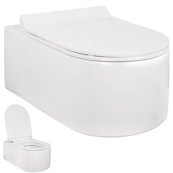 Wall Hung Mounted Toilet WC Pan without Rim with Soft Close Seat Toilet Lid Bathroom Sanlingo – Bild 6