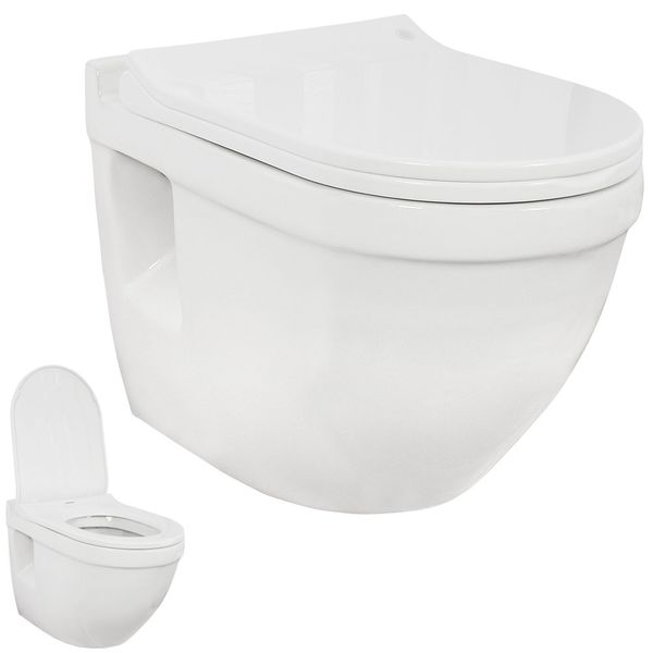Wall Hung Mounted Toilet WC Pan without Rim with Soft Close Seat Toilet Lid Bathroom Sanlingo – Bild 8