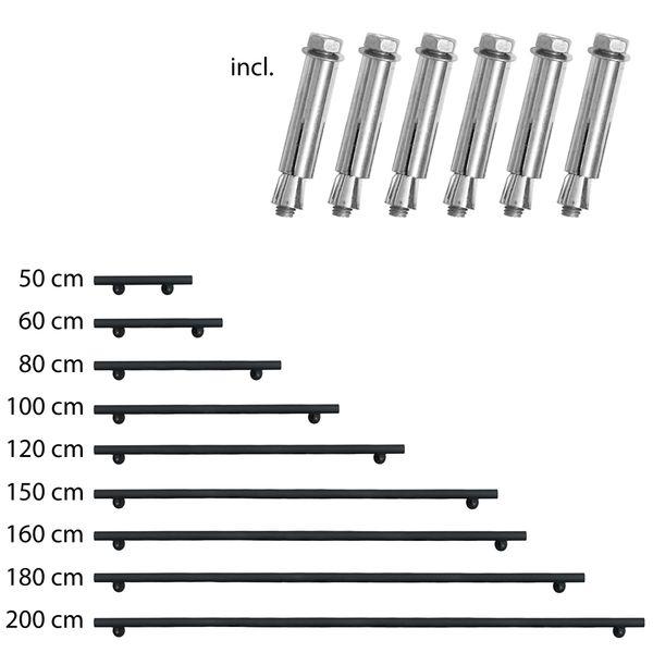 Farbe:Schwarz Edelstahl Handlauf Treppengel/änder Gel/änder Wandhandlauf Wand Treppe 3 Farben 50-200 cm V2Aox L/änge:120 cm