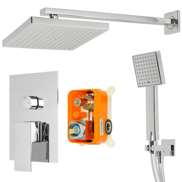 Concealed Complete Rain Shower Set 2 Outlet Diverter Tap Hand Mounting Box Chrome Sanlingo – Bild 2