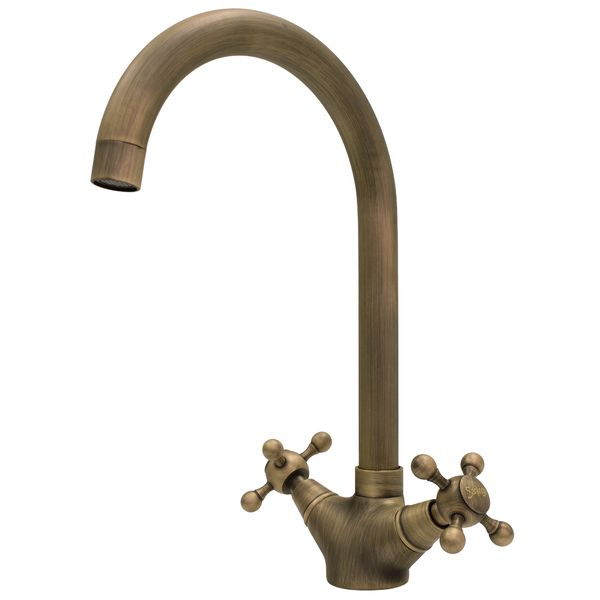 Retro Kitchen Sink Mixer Tap Cross head Antique Brass Sanlingo – Bild 1