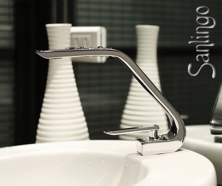 moderne designer badezimmer bad armatur wasserhahn waschbecken chrom einhebel sanlingo bad. Black Bedroom Furniture Sets. Home Design Ideas