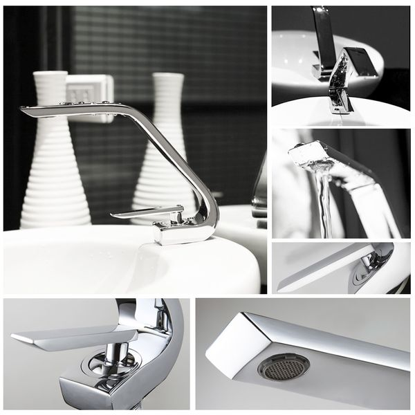 Design Modern Bath Washbasin Single Lever Tap Mixer Chrome Sanlingo – Bild 2