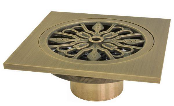 Bodenablauf Abfluss 10 x 10 cm Antik Messing Dusche Bad Keller Geruchsverschluss  Garage Sanlingo