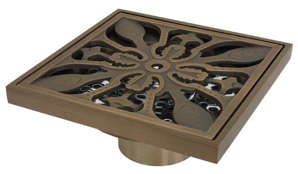 Bodenablauf Abfluss 10x10cm Dusche Bad Geruchsverschluss Sanlingo Antik Messing