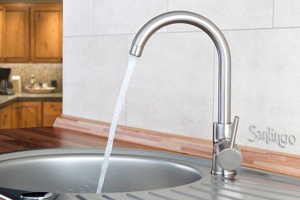 Design Küchen Spültisch Einhebel Armatur Edelstahl Optik von Sanlingo – Bild 1