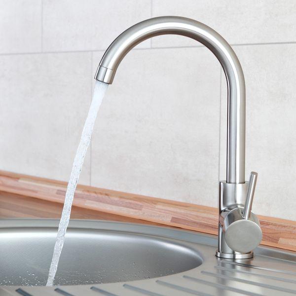 Design Kitchen Sink Single Lever Tap Stainless Steel Look Sanlingo – Bild 1