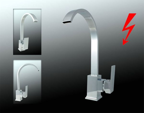 Sanlingo Design Niederdruck Armatur Küche Spüle Einhebel Chrom – Bild 1