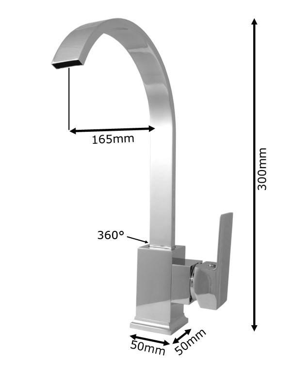Sanlingo Design Niederdruck Armatur Küche Spüle Einhebel Chrom – Bild 2