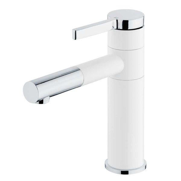 Waschbecken Waschtischarmatur Armatur Wasserhahn Mischbatterie Einhebelmischer Weiss Chrom Schwenkbar Sanlingo – Bild 1