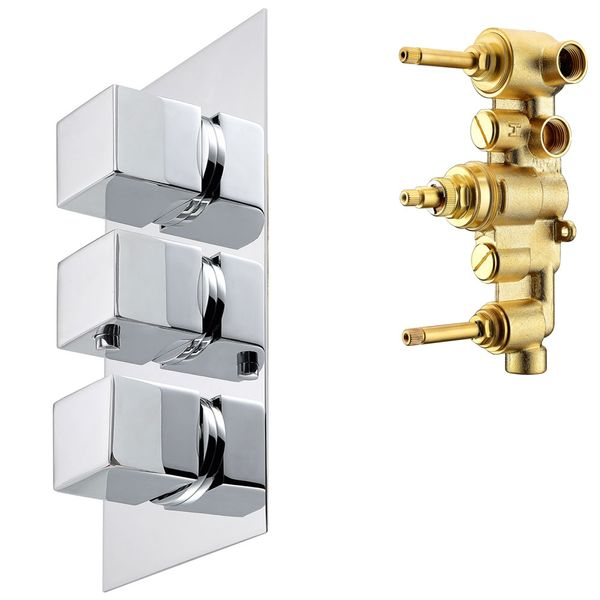 Modern Concealed Flush Wall Mount Three Ways Bathtub Shower Mono Tap Mixer Chrome Thermostat Sanlingo  – Bild 1