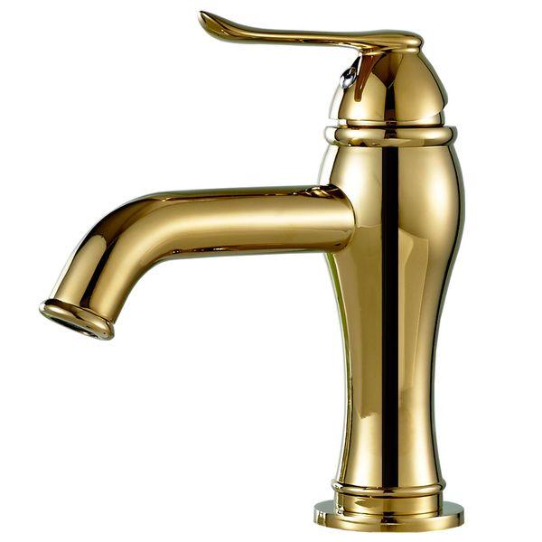 Waschbecken Waschtischarmatur Armatur Wasserhahn Mischbatterie Einhebelmischer Gold Sanlingo Serie TULL – Bild 1