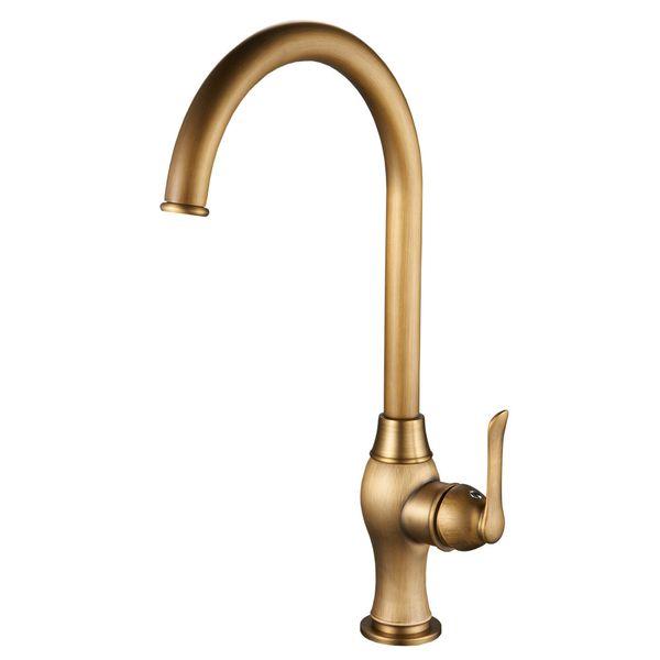 Kitchen Mono Tap Mixer Sink Antique Brass Swivel Spout Sanlingo RASA Series – Bild 2