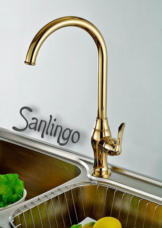 Design Einhebel Küchen Spülbecken Armatur Drehbar Gold Sanlingo – Bild 1