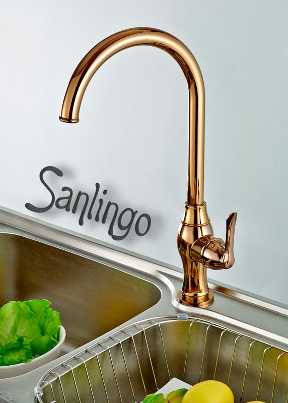 Design Kitchen Single Lever Tap Mixer Rotating Mixer Red Rose Gold Sanlingo – Bild 1