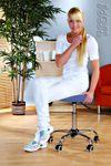 Kosmetik Arbeitshocker Massage Hocker , höhenverstellbar, blau 001
