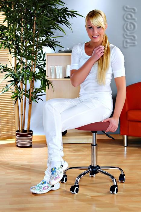 Kosmetik Arbeitshocker Massage Hocker , höhenverstellbar, rot