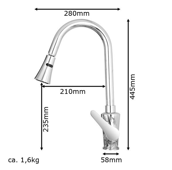 Design Kitchen Sink Mixer Tap Faucet Pullout Rotatable Chrome Sanlingo – Bild 3
