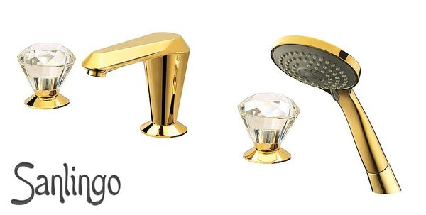 Retro Nostalgia 4 Hole Water Tap Bathtub Gold Crystal Sanlingo  – Bild 1