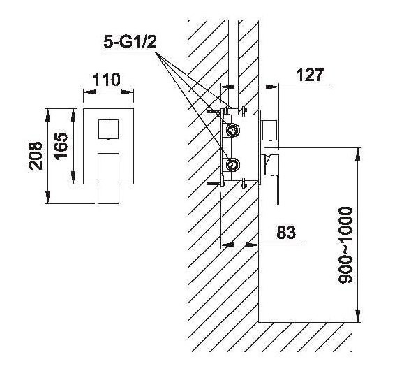 Design Unterputz Armatur Einhebel 3-Wege-Umstellung Montagebox Sanlingo Chrom – Bild 4