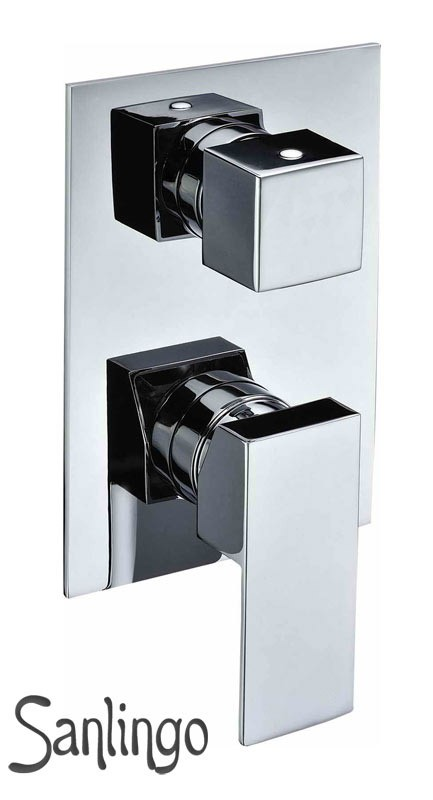 Concealed flush-mounting 4 Way Diverter Tap Bath Shower Bathtub Chrome Sanlingo – Bild 1