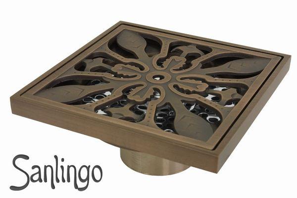 Bodenablauf Abfluss 10x10cm Dusche Bad Geruchsverschluss Sanlingo Antik Messing – Bild 1