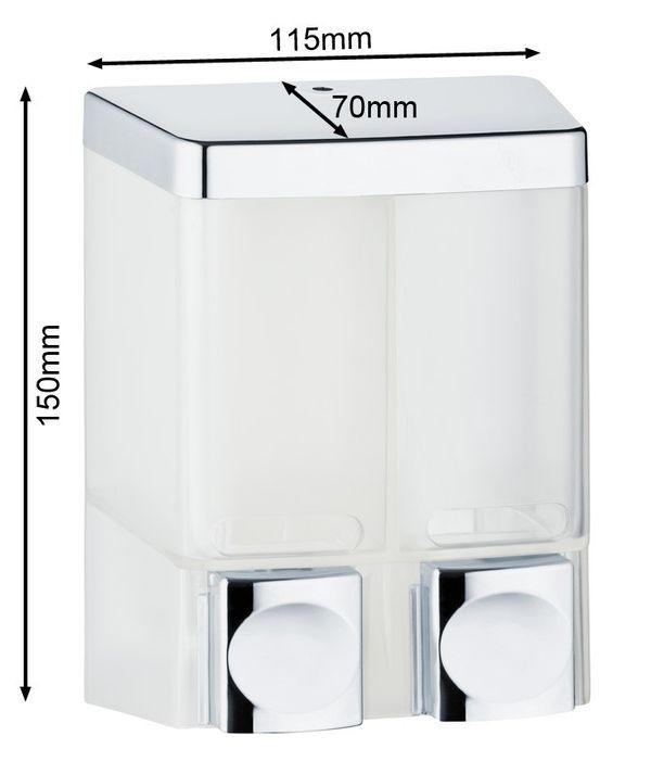 Doppio Dispenser di Sapone Doccia Bagno Cucina Montaggio a parete Bianco Cromo Sanlingo – Bild 2
