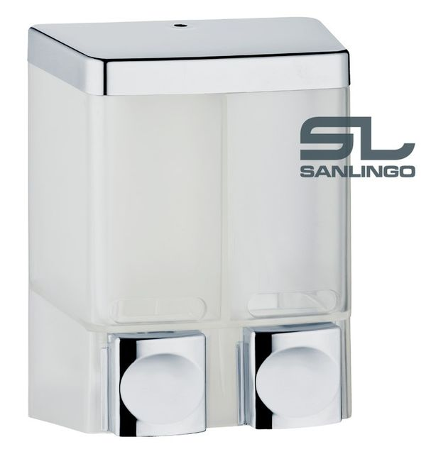 Doppio Dispenser di Sapone Doccia Bagno Cucina Montaggio a parete Bianco Cromo Sanlingo – Bild 1
