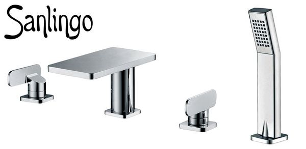 Modern Design 4 Hole Water Tap Bathtub Hand Shower Chrome Sanlingo MYTO Series – Bild 1