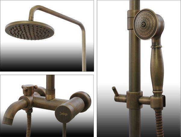 Komplettes Retro Duschset Dusche Badewanne Armatur Antik Messing Sanlingo – Bild 2
