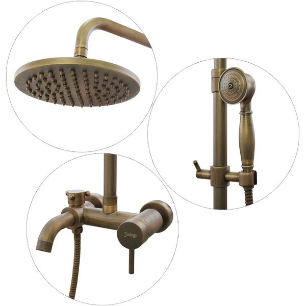 Complete Retro Shower Set Shower Tap Rain Bathtub Bath Antique Brass Sanlingo – Bild 2