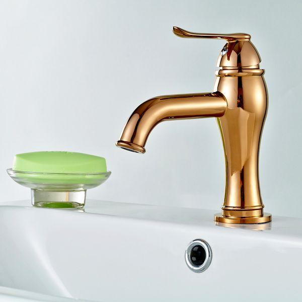 Design Bad Waschbecken Einhebel Armatur Mixer Wasserhahn Rot Rose Gold Sanlingo – Bild 2