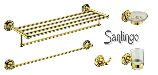 Bathroom Luxury Towel Bar Wall Mounting 5fold 5 Bars Gold Sanlingo Series MARA – Bild 4