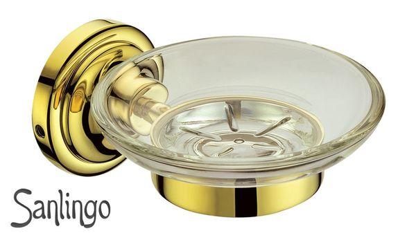 Saponiera Portasapone Portaoggetti Ottone Massiccio Vetro Oro Sanlingo MARA Series – Bild 2