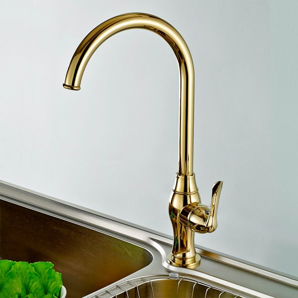 Design Kitchen Single Lever Tap Mixer Rotating Mixer Gold Sanlingo – Bild 1