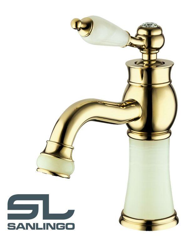 Marble Water Tap Bath Bathroom Washbasin Single Lever Gold Glass Crystal Sanlingo – Bild 1