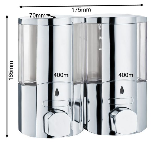 Seifenspender Doppelt Shampoo Flüssigseife Seife Spender Chrom Wandmontage Sanlingo – Bild 2