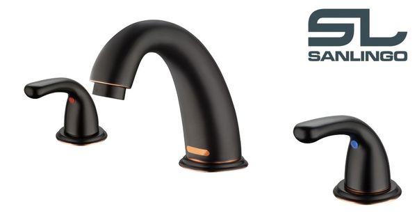 Sanlingo 3 Loch Design Armatur Bad Waschale Waschbecken Waschtisch Schwarz Brüniert
