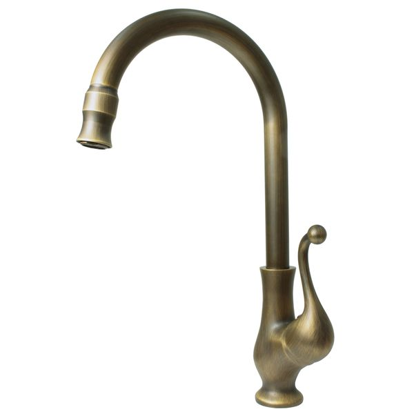 Nostalgia Retro Single Lever Kitchen Tap Rotating Mixer Antique Brass Sanlingo – Bild 1