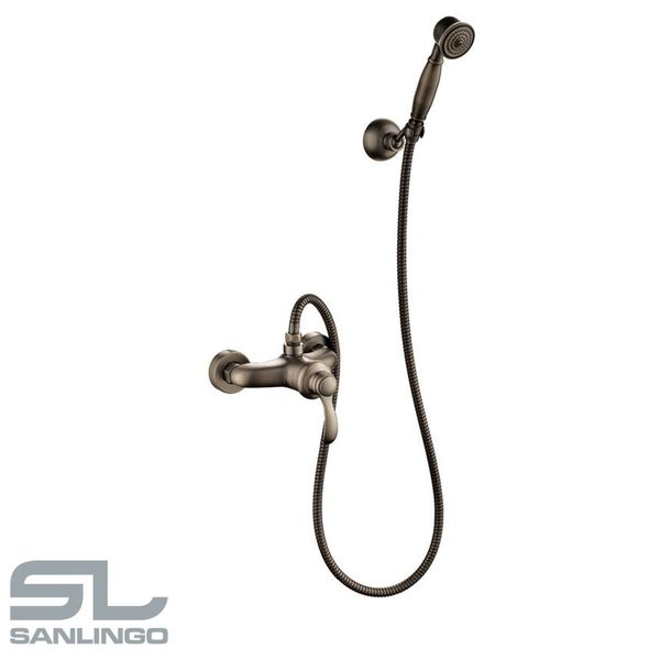 Retro Bath Shower Set Single Lever Water Tap Hand Shower Antique Brass Sanlingo – Bild 2