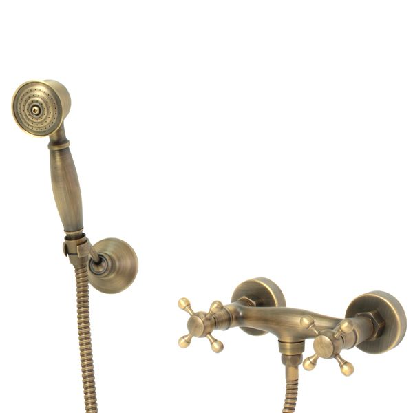 Retro Shower Faucet Mixer Nostalgia Cross head Antique Brass Joss – Bild 2