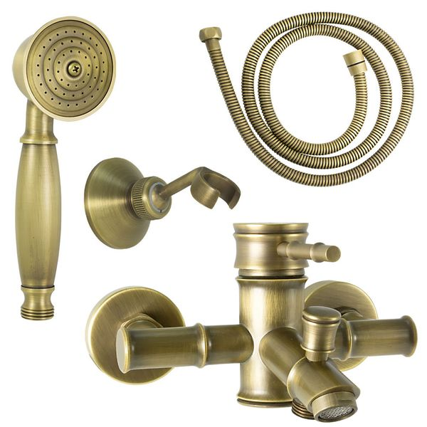 Bathtub Mixer Nostalgia Retro Tap Single Lever Antique Brass Sanlingo Iris – Bild 2