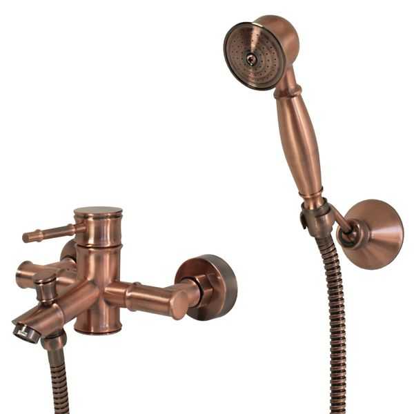Bath Tub Faucet Mixer Retro Nostalgia Single lever Red Bronze Tessa – Bild 1