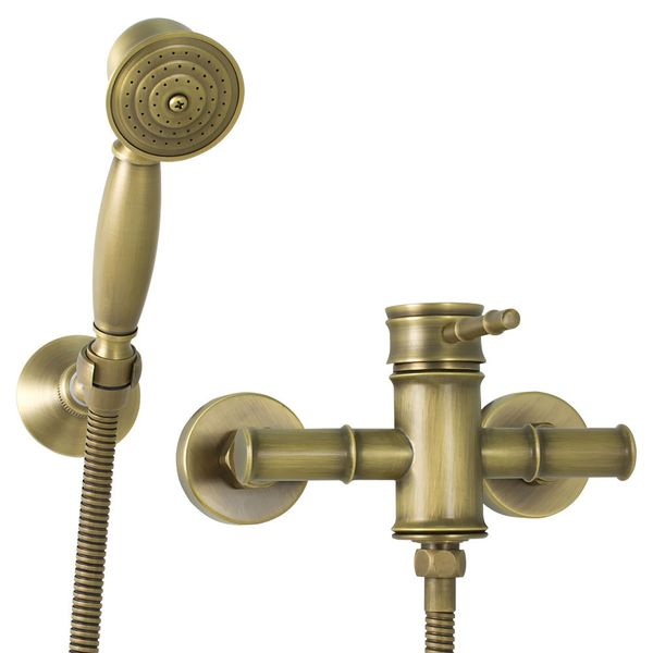 Nostalgia Retro Mixer Tap Single Lever Shower Antique Brass Sanlingo Iris – Bild 1