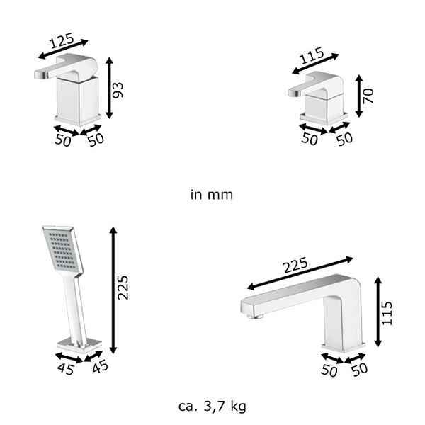 Design 4 Hole Faucet Tap Bathtub with Hand Shower square Sanlingo – Bild 1