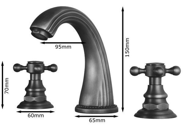 Nostalgia Retro 3 Hole Tap Faucet Wash Basin Sanlingo Antique Brass – Bild 2